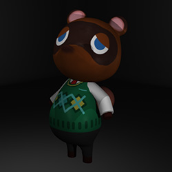 Tom Nook — Modeled, textured, and rigged by myself. The tail uses a squash deformer and the stomach has a jiggle deformer, adding more character to the test animation shown. Rendered in Renderman.
