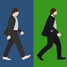 Abbey Road — Gif walk cycle with inspiration from the cover of Abbey Road. All Rotoscoped, drawn in Photoshop.